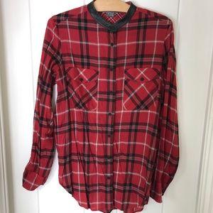 Vince Leather Trim Plaid Long Sleeve Shirt